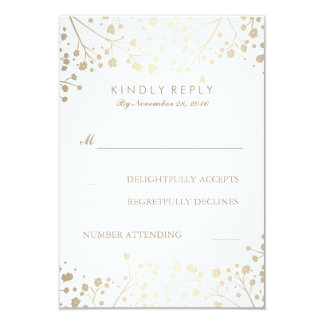 Foil Baby's Breath Wedding RSVP Cards 9 Cm X 13 Cm Invitation Card