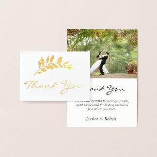 Foil Branch Wedding Photo Thank You Card