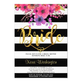 Foil bridal shower invitation black/white floral