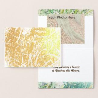 Foil Cattails Harvest Home Mabon Autumn Equinox Foil Card