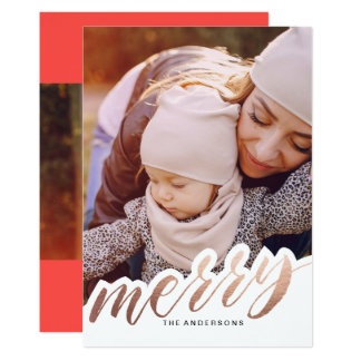 Foil Holiday MERRY Christmas Card 13 Cm X 18 Cm Invitation Card