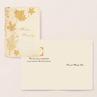 Foil Mabon Autumn Leaves Autumn Equinox Foil Card