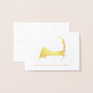 Foil Map of Detailed Cape Cod | Wedding Foil Card