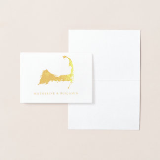Foil Map of Detailed Cape Cod | Wedding Foil Card