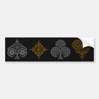 Foil Playing Cards Suits Bumper Sticker