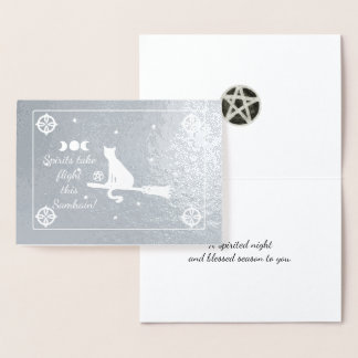 Foil Samhain Magick Cat on Broom Black and White Foil Card