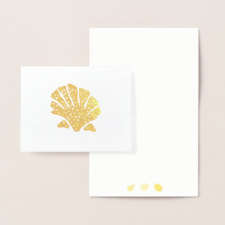 Foil Sea Shells Silhouette  Note Card