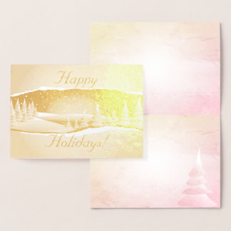 Foil Winter Scene Trees in the Snow  Christmas Foil Card