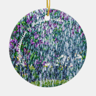 Fointain jets and lilac flowers ceramic ornament