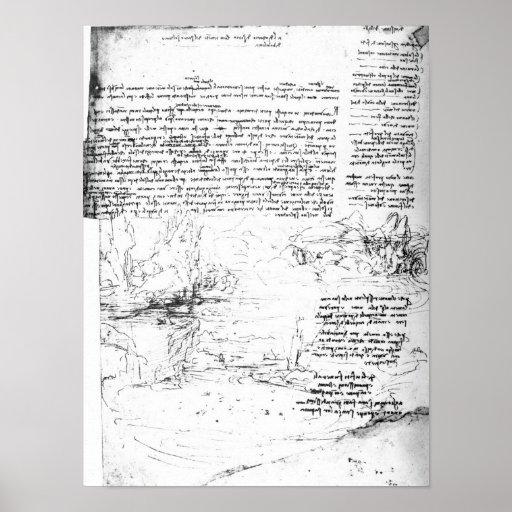 Fol.145v-a, page from Da Vinci's notebook Print