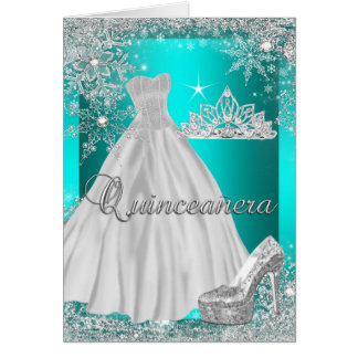Folded Card Quinceanera Teal Tiara Photo