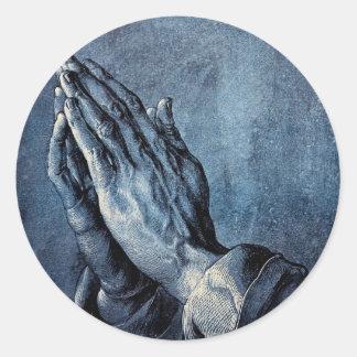 Folded Hands Prayer - Durer Classic Round Sticker