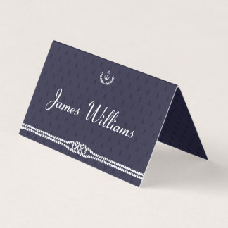 Folded Nautical Wedding Place Cards With Anchors