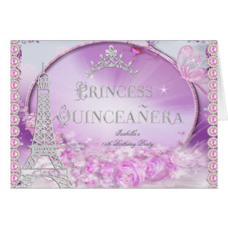 Folded Princess Quinceanera Magical Pink Purple Card