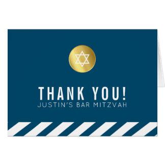 FOLDED THANK YOU bar mitzvah gold star dark blue Card