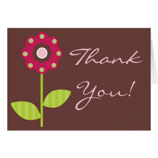 Folded Thank You Card Berry Garden Lady Bug Flower