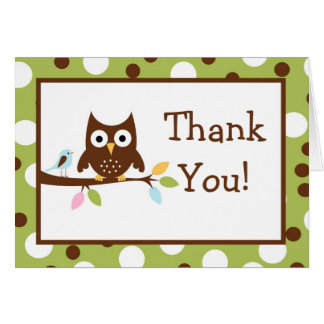 Folded Thank you Card Forest Friends Owl