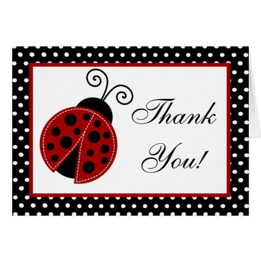 Folded Thank you Card Red Ladybug
