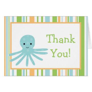 Folded Thank you Card Striped Ocean Sea Life