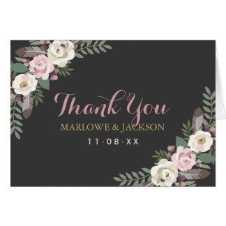 Folded Thank You Cards   Boho Florals