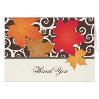 Folded Thank You Note Card | Autumn Leaves Theme