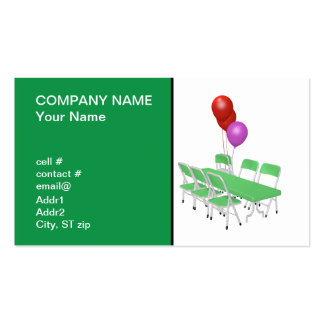 folding chair and tables with party balloons business card template