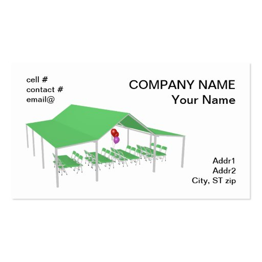 Folding chair and tables with party balloons business card for Ampad business card templates