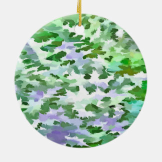 Foliage Abstract In Green and Mauve Ceramic Ornament