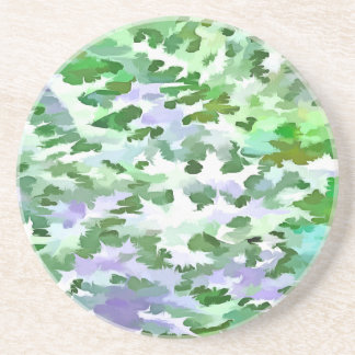 Foliage Abstract In Green and Mauve Coaster