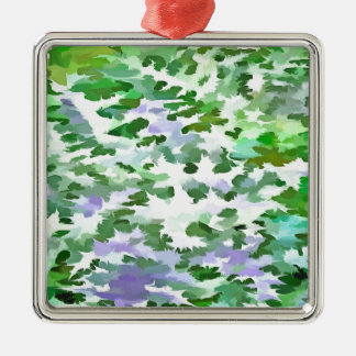Foliage Abstract In Green and Mauve Metal Ornament