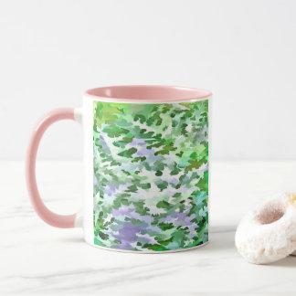 Foliage Abstract In Green and Mauve Mug
