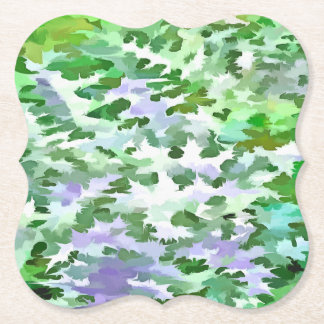 Foliage Abstract In Green and Mauve Paper Coaster