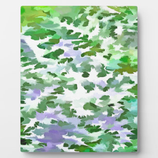 Foliage Abstract In Green and Mauve Plaque