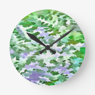 Foliage Abstract In Green and Mauve Round Clock