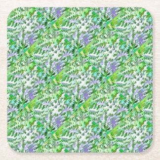 Foliage Abstract In Green and Mauve Square Paper Coaster