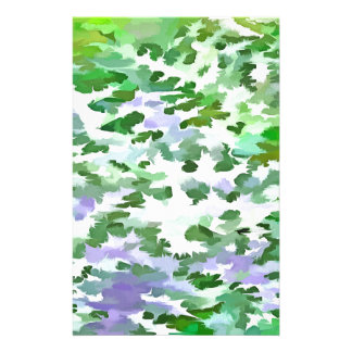 Foliage Abstract In Green and Mauve Stationery