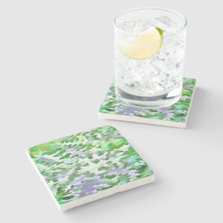 Foliage Abstract In Green and Mauve Stone Coaster