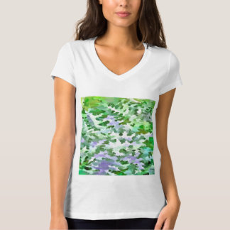 Foliage Abstract In Green and Mauve T-Shirt
