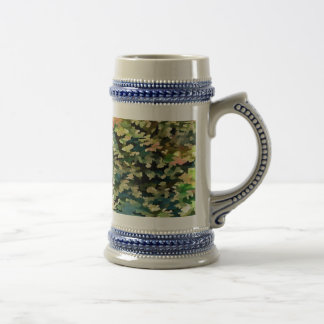 Foliage Abstract In Green, Peach and Phthalo Blue Beer Stein
