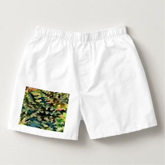 Foliage Abstract In Green, Peach and Phthalo Blue Boxers