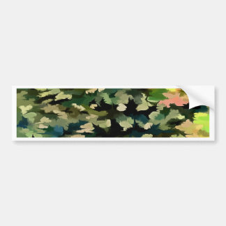 Foliage Abstract In Green, Peach and Phthalo Blue Bumper Sticker