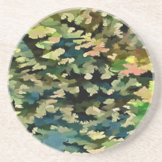Foliage Abstract In Green, Peach and Phthalo Blue Coaster