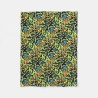 Foliage Abstract In Green, Peach and Phthalo Blue Fleece Blanket