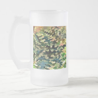 Foliage Abstract In Green, Peach and Phthalo Blue Frosted Glass Beer Mug