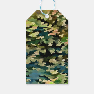 Foliage Abstract In Green, Peach and Phthalo Blue Gift Tags