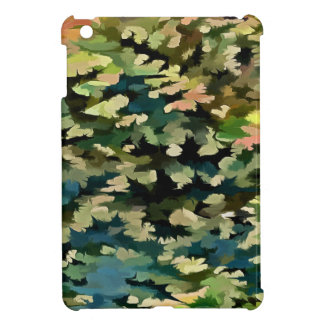 Foliage Abstract In Green, Peach and Phthalo Blue iPad Mini Covers