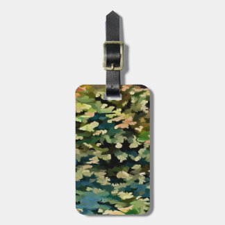 Foliage Abstract In Green, Peach and Phthalo Blue Luggage Tag