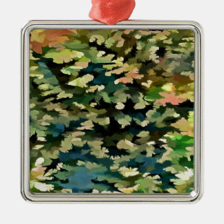 Foliage Abstract In Green, Peach and Phthalo Blue Metal Ornament