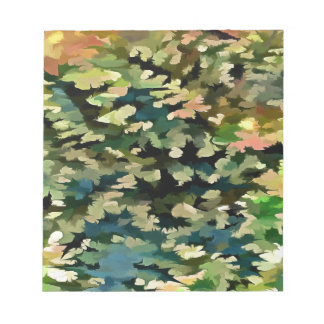 Foliage Abstract In Green, Peach and Phthalo Blue Notepad