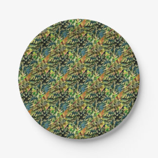 Foliage Abstract In Green, Peach and Phthalo Blue Paper Plate
